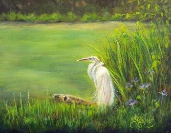 """""""Great Egret"""" ,  marsh landscape SOLD"""