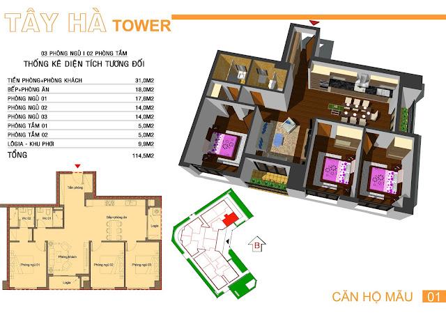 Căn số 1 dự án Tây Hà Tower