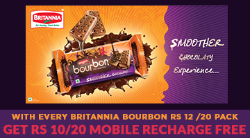 Free Rs 10/20 Free Recharge from Britannia Bourbon Biscuits