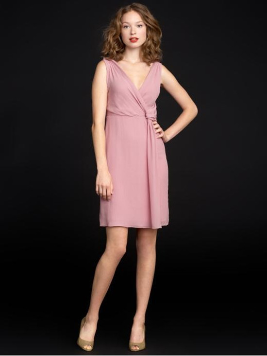 pink v neck dress