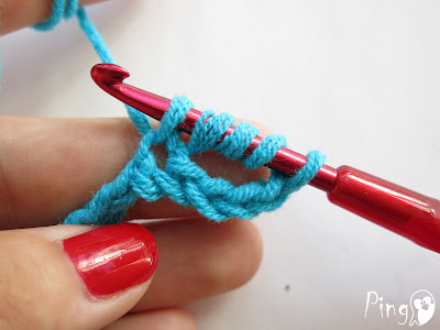 Double Treble/Triple Crochet (DTR) - step by step instruction by Pingo - The Pink Penguin
