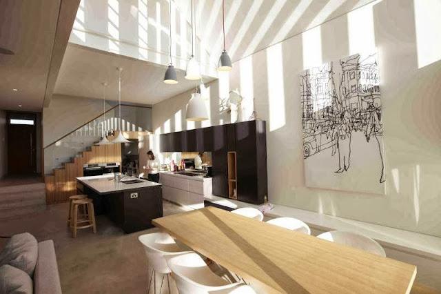 bright kitchen adn dining design