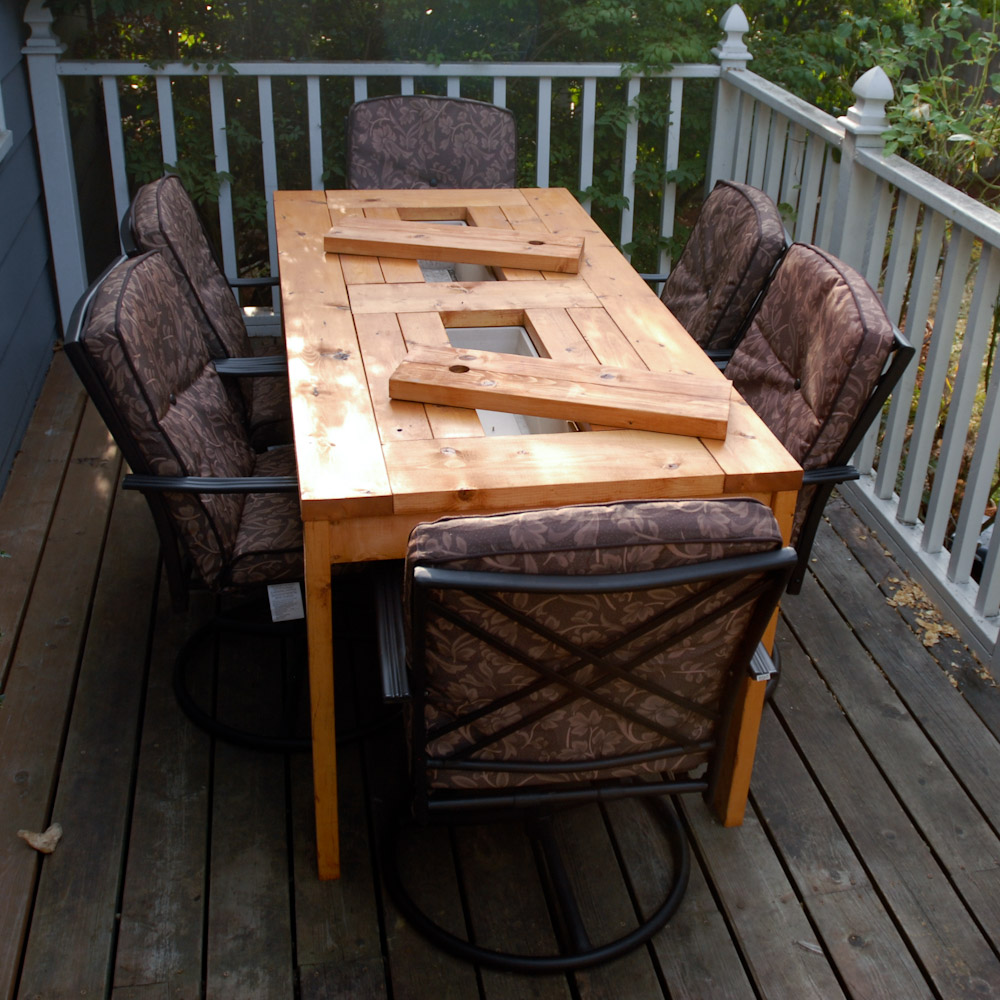 DIY Patio Table with Built-in Beer/Wine Coolers - Creative DIY Ideas