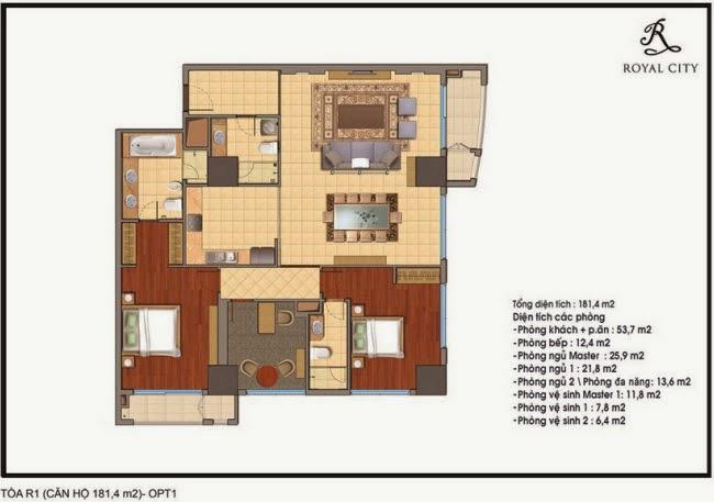 Chi tiết thiết kế căn hộ toà R1 chung cư Royal City diện tích 181.4 m2