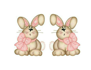 Easter bunny with bow graphic for Candy basket printable