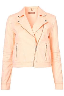 peach biker jacket, leather jacket