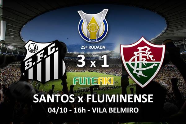 Veja o resumo da partida com os gols e os melhores momentos de Santos 3x1 Fluminense pela 29ª rodada do Brasileirão 2015.
