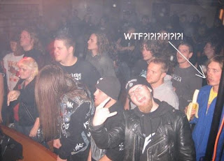 heavy metal concert weird guy eating banana