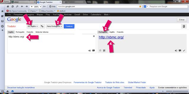 Definições Google Translate para traduzir site
