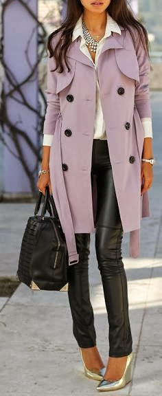 Adorable long jacket, white shirt, black shiny skinnies, silver high heel nudes and hand bag