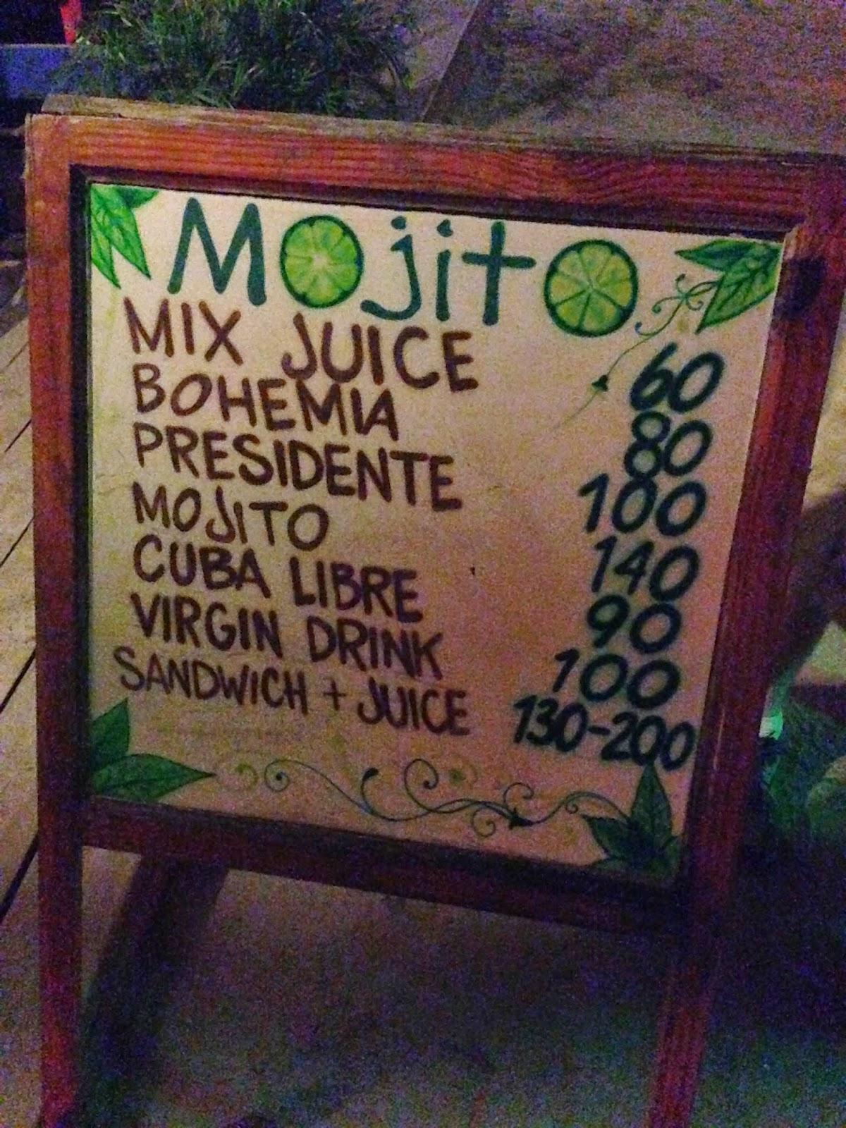 mojito drink menu cabarete