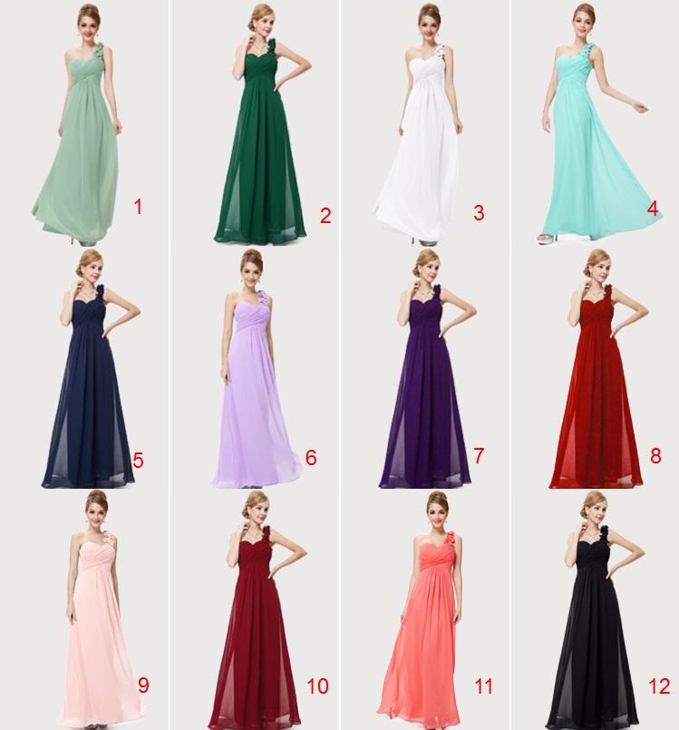 One-Floral-Shoulder Multi-Color Bridesmaids Maxi Dress