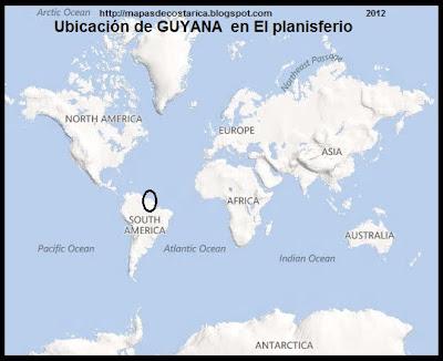 Ubicación de GUYANA en El planisferio, BING