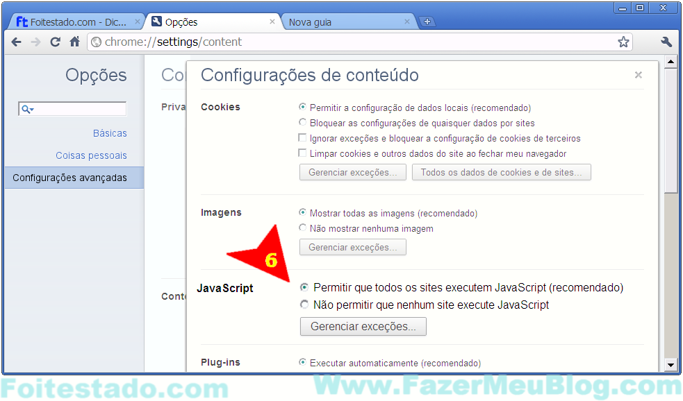 como ativar ou desabilitar javascript no browser Google Chrome