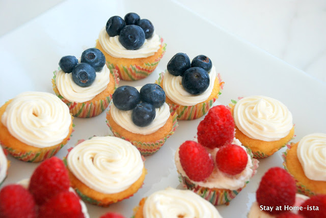 4th of july cupcakes topped with fruit to create an american flag