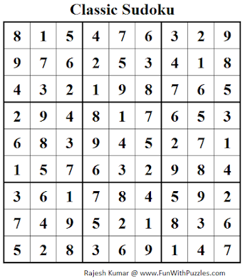 Classic Sudoku (Fun With Sudoku #101) Solution