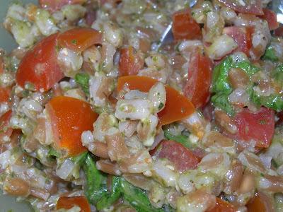 Farro con Pomodorini, Pesto e Grana