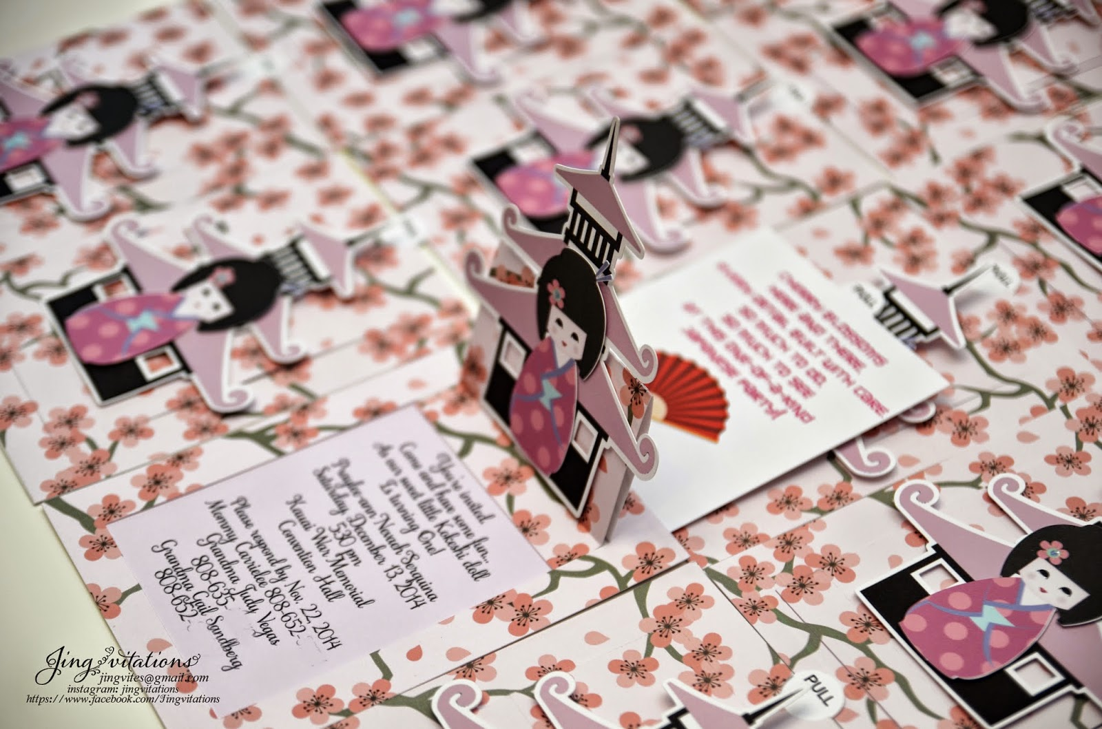 pagoda invitations, cherry blossom invitations