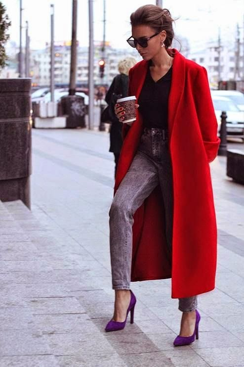 Red Oversized Coat | Down Coat