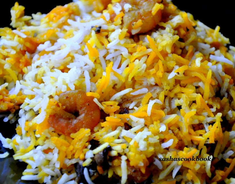 Sashas Cookbook: Sindhi shrimp biryani