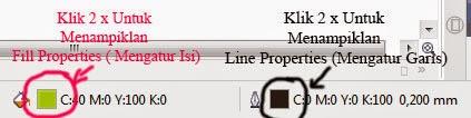 Line Properties pada Status Bar