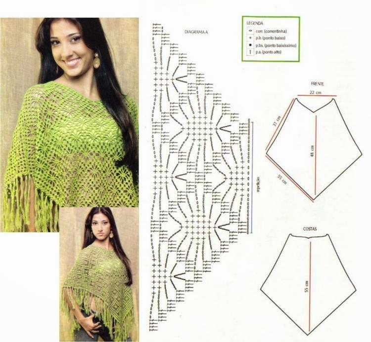 Poncho tejido al crochet con diseño de cuadros