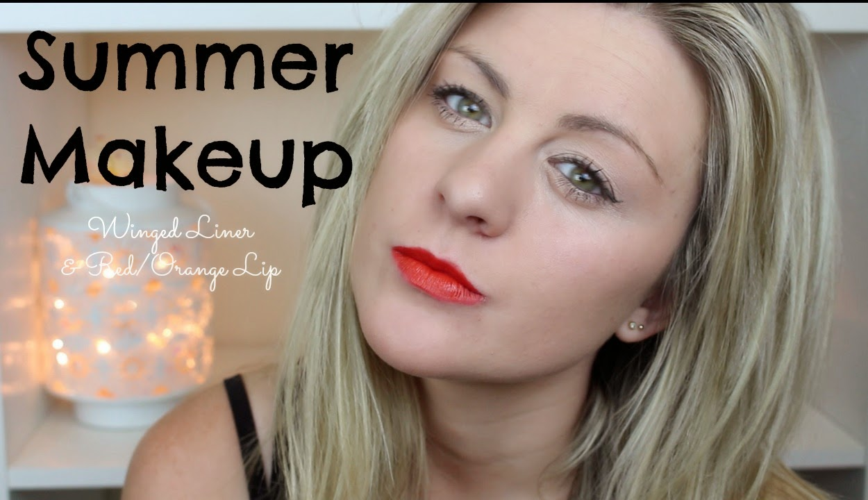 grwm, get ready with me, red lips, winged liner, summer makeup, through chelsea's eyes,