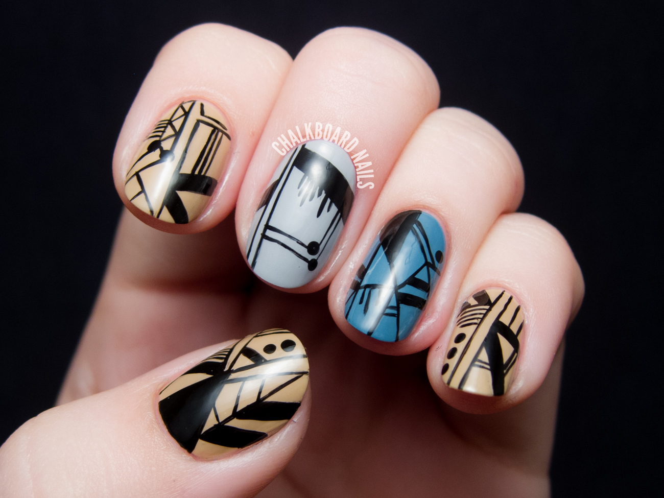 Line Art On Nails : Spifster inspired delicate line nail art chalkboard