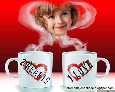 fotomontaje de amor tazas de cafe