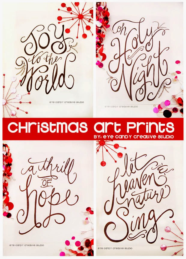 joy to the world art print, oh holy night art print, a thrill of hope, let heaven and nature sing, christmas art prints, hand lettered art prints