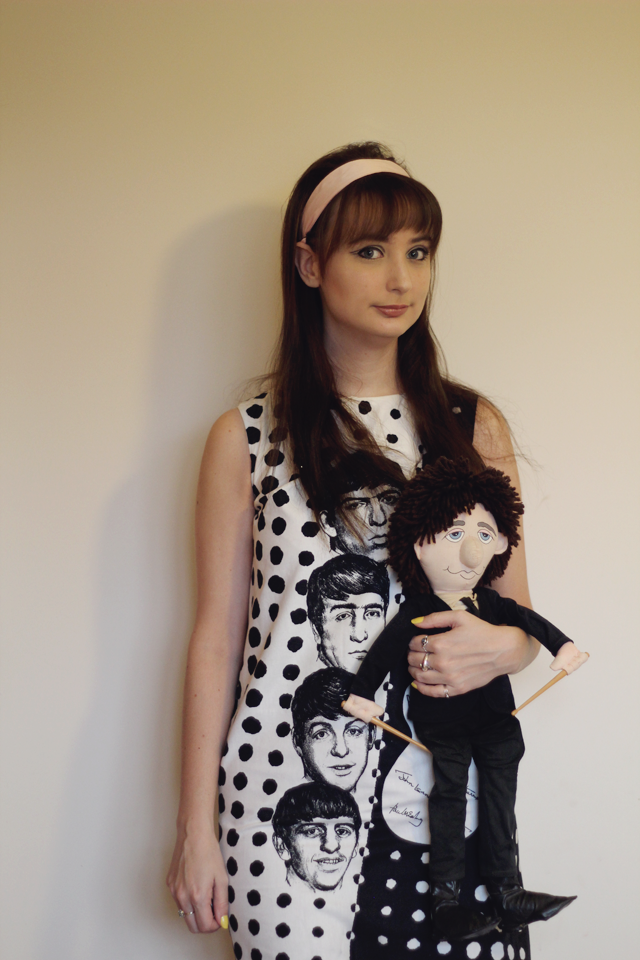 Beatles 1964 black and white dress and Appluase Ringo Starr doll
