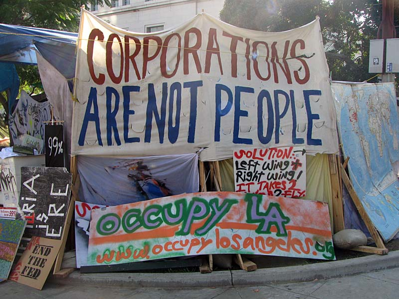 Occupy Los Angeles - sign Corporations Are Not People