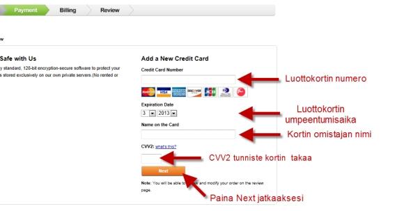 Luottokortin tietojen antaminen