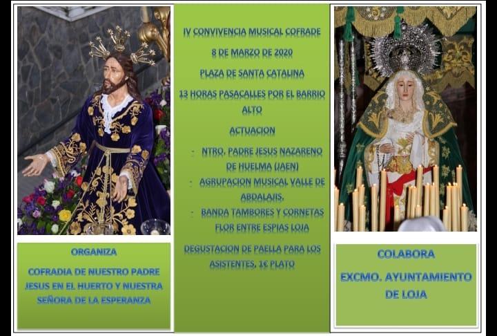 DOMINGO 8 DE MARZO 2020. IV CONVIVENCIA MUSICAL COFRADE DE LOJA (GRANADA)