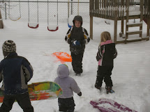 Little Kids Playing in Snow