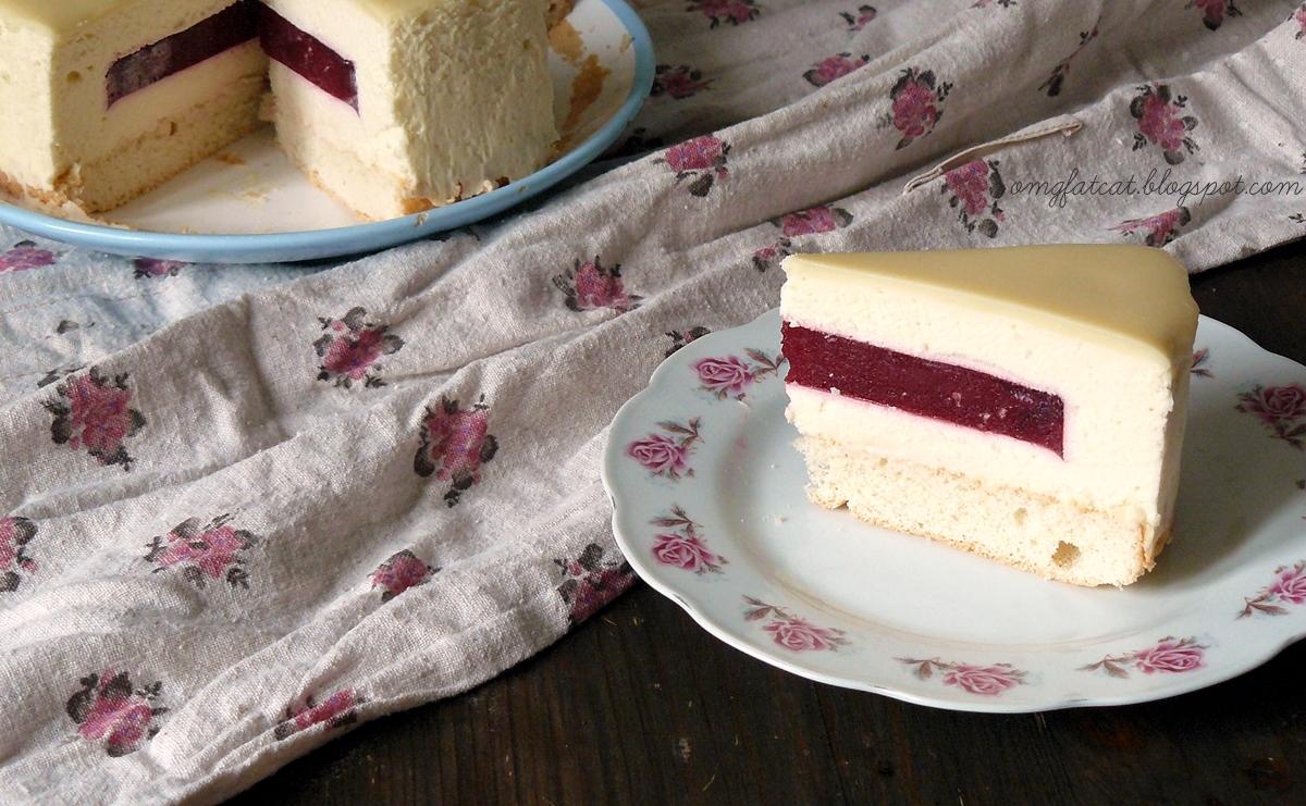 white chocolate raspberry mousse cake mus z białej czekolady galaretka z malin