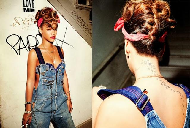 Rihanna com penteado bandana