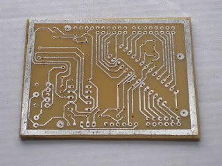 Finished PCB etched by stovetop toner transfer