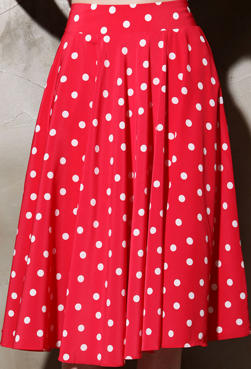 Polka Dot Full Midi Skirt