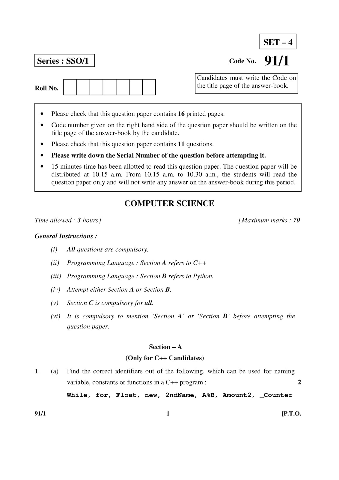 Cbse 2015 computer science class 12 boars question paper set 4 cbse class 12th 2015 computer science question paper malvernweather Image collections