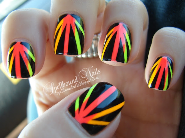 nailart nail art nails mani manicure Spellbound Neon Sunbeams Rays Sunrays China Glaze Funky Fingers Color Club Taped Taping Tape orange green yellow pink hot black white Sun Worshiper Kingston Yell-Oh!