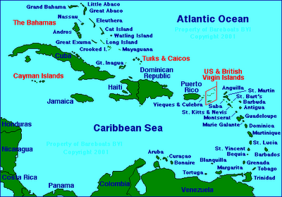 Map of Caribbean Sea