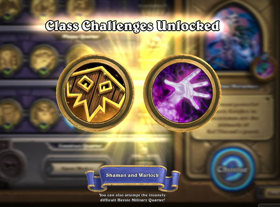 Blizzard Hearthstone Heroes of Warcraft Curse of Naxxramas expansion military quarter class challenges