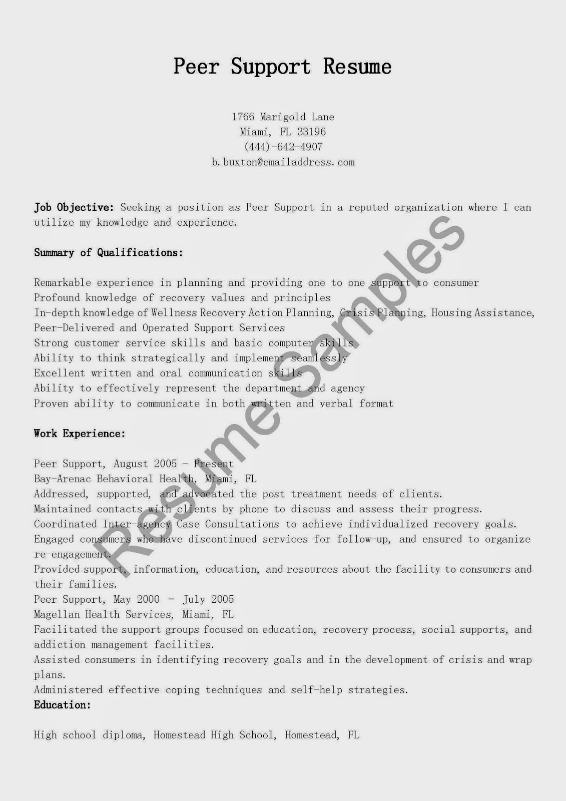 resume samples peer support resume sample