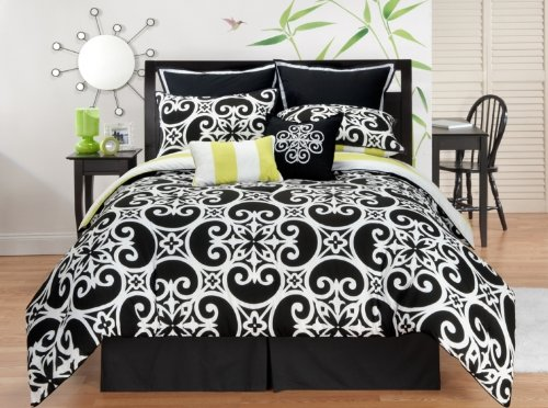 7-Piece Black and White Bedding/Comforter Set for Teen Girls