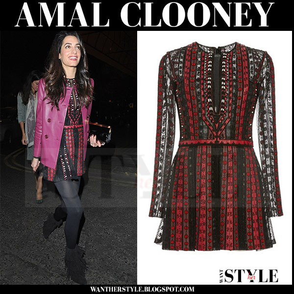 Amal Clooney in leather jacket and red and black embroidered valentino mini dress and paul andrew suede boots what she wore