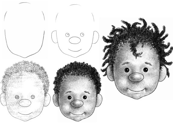 Cartoon Child And Then Make The Hair Curly With Squirkles Most Ofthe Illustrated Steps Are Same For Drawing Either Sam Or Samantha Hence You Can