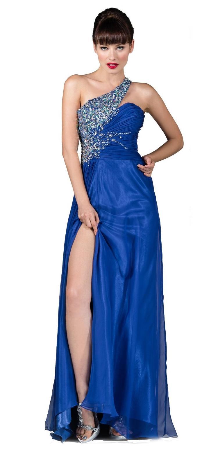 Vestidos De Baño Azul Rey:Vestido de graduación largo, de un hombro y en color azul rey