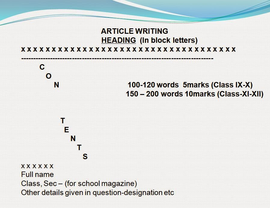 Article writing service class 9 format