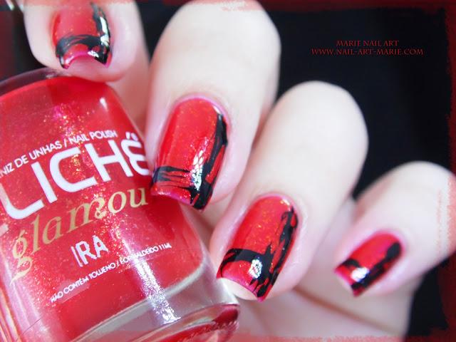 Nail Art Abstrait Rouge et Noir Facile2